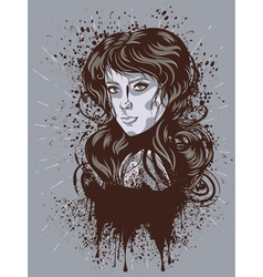 Grunge Retro Girl vector image