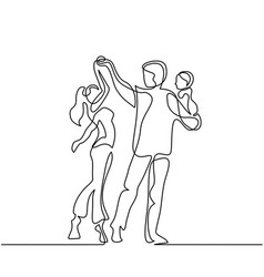 happy loving couple dancing with baby in hands vector image