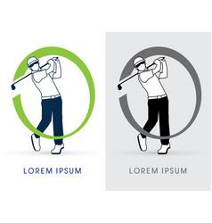 man swinging golf vector image