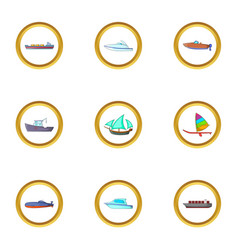marine icons set cartoon style vector image vector image