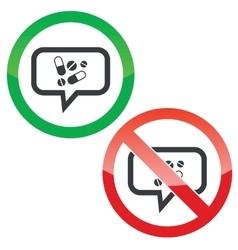 Medicine message permission signs vector