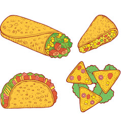 mexican food set graphic doodle cartoon art vector image