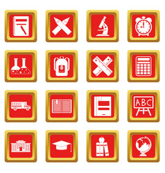 School icons set red vector