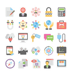 Seo and digital marketing colored icons 4 vector