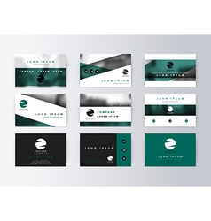 Set of business cards turquoise background vector image vector image