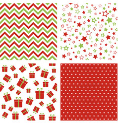 set of christmas patterns seamless backgrounds vector image vector image