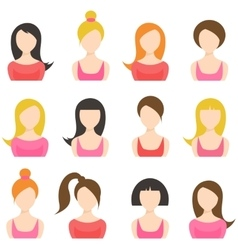 Set of woman icons isolated on white vector