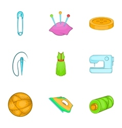 Sewing supplies icons set cartoon style vector