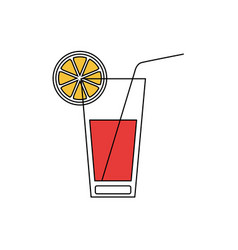 silhouette color section of cocktail drink with vector image vector image