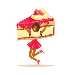 Smiling woman wearing cake costume puppets food vector
