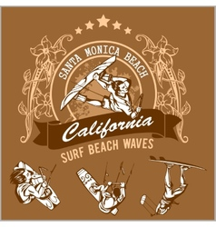 Surfing - label and surfers vector image