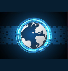 technology cyber abstract world circle rectangle vector image vector image