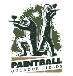 Vintage paintball club template vector
