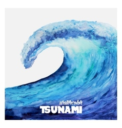 Watercolor ocean tsunami waves vector image vector image