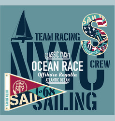 yacht club racing sailing offshore regatta vector image vector image