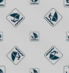 Windsurfing sign seamless pattern with geometric vector