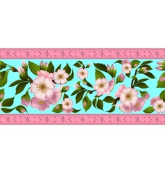 Seamless border with apple-tree flowers vector image