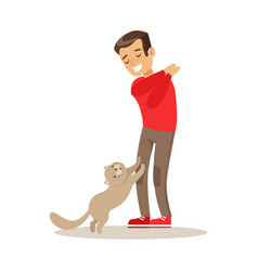 Smiling boy playing with his gray cat colorful vector