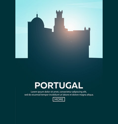 Travel poster to portugal landmarks silhouettes vector