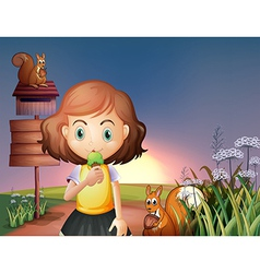 A young girl eating an icecream in the hill with a vector