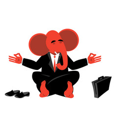 Red elephant republican meditating symbol of usa vector