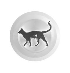 black silhouette cat animal pet web icon vector image