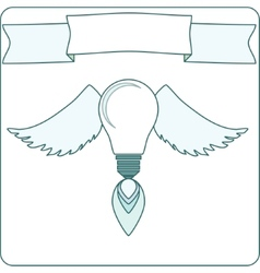 Simple light bulb with wings flame and banner vector