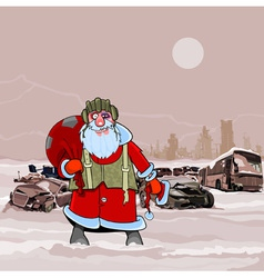Santa claus at the dump wrecked cars nuclear vector