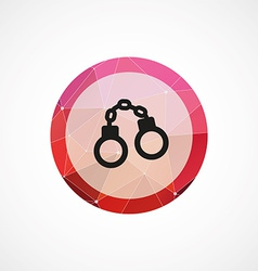 Handcuffs circle pink triangle background icon vector