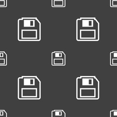 Floppy disk icon sign seamless pattern on a gray vector