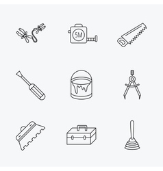 Screwdriver plunger and repair toolbox icons vector