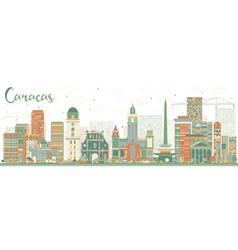 Abstract caracas skyline with color buildings vector