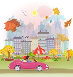 Autumn cityscape vector image vector image