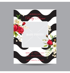 Baby Arrival Card with Photo Frame Vintage Rose vector image vector image