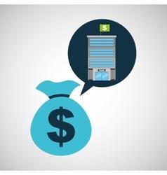 Bank building finance bag money vector