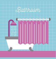 bathroom shower bathtub with curtain and blue tile vector image