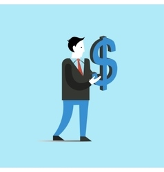 Business man holds big dollar sign finance vector