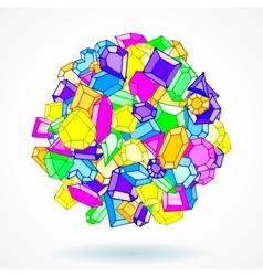 Cartoon doodle gems ball background vector