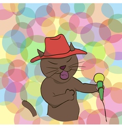 Cat sings a song into the microphone vector image vector image