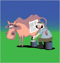 cow and farmer vector image