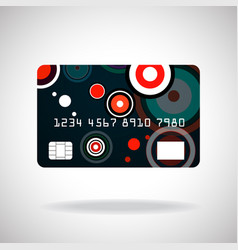 Credit card icon with colorful circles isolated on vector