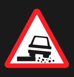 Dangerous roadside and shoulder sign flat icon vector