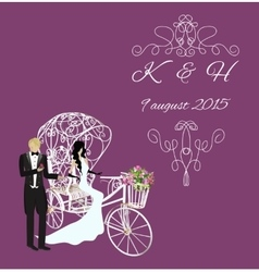 elegance vintage bride and groom vector image vector image