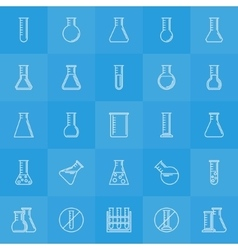 Experiment glass flask icons vector