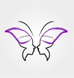 Face of a lady and butterfly vector