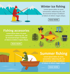 fishing tools banner horizontal set flat style vector image vector image