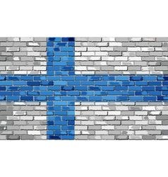 Flag of Finland on a brick wall vector image vector image