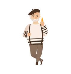 Flat man cheese beret pants on suspenders vector