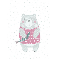 Hand drawn funny cute bear with fish vector
