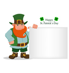 Happy saint patricks day cartoon happy leprechaun vector
